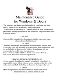 Maintenance guide for Windows and Doors